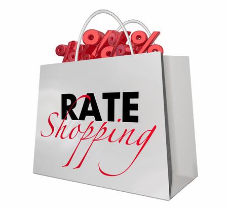 レートショッピングバッグ利息最低パーセント標識3d イラストレーション 写真素材