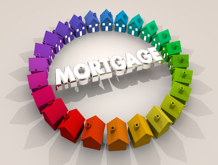 Mortgage Home Loan Houses Ring Real Estate Borrow Money 3d Illustration Stock Photo