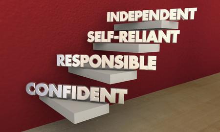 독립적 인 자기 의존 자신감 책임 단계 3d 일러스트 스톡 콘텐츠