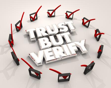 Faire confiance mais vérifier les cases à cocher Confirmation de vérification des boîtes Illustration 3d