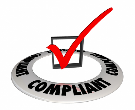 Compliant Check Box-bevestiging geverifieerd 3d illustratie Stockfoto - 89448334