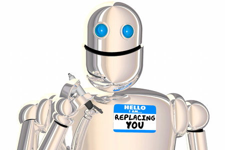 Replacement Worker Robot Name Tag Displaced Employee 3d Illustration Stock Photo