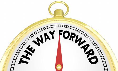 La forma de la brújula de Forward Forward Right Ahead Plan Ilustración 3D