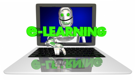 learning new skills: E-Learning Computer Laptop Education Training Robot 3d Illustration