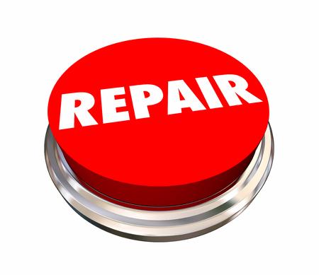 Reparatie om Rode Knopfix Mechanische 3d Illustratie