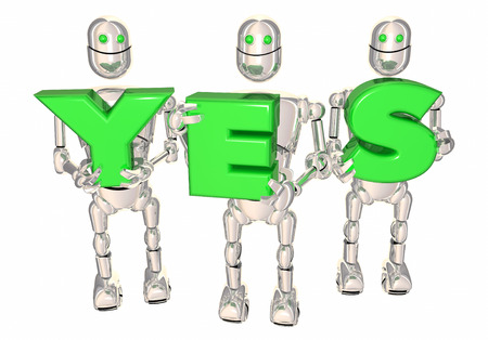 Yes Robots Carrying Answer Word Letters 3d Illustration