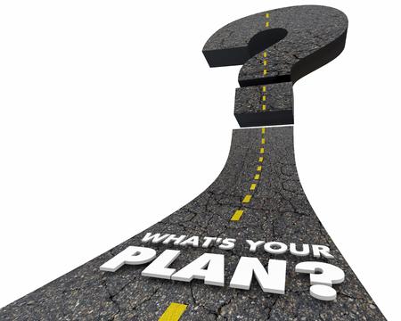 Whats Your Plan 도로 목표 목표 운전 3D 일러스트 레이션 전달