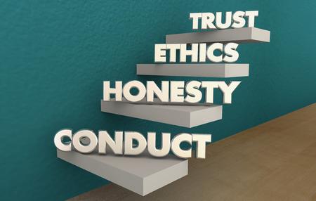Confiance éthique conduite honnêteté intégrité étapes Réputation Illustration 3d