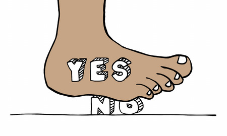 Yes Foot Stomping No Word Overcoming Objection Illustration
