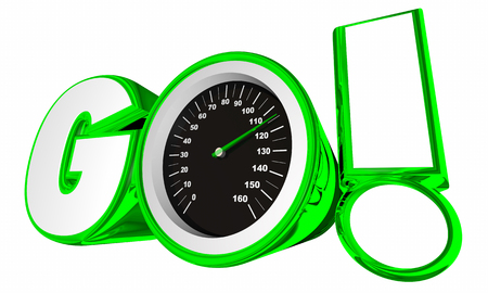 Go Speedometer Word Start Begin Race Competition 3d Illustration Stock Photo