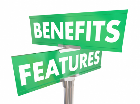 Features Benefits Road Sign Two Way Direction Product Advantage 3d Illustration Stock Photo