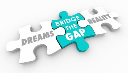 Dreams Reality Bridge Gap Puzzle sprawiają, że życzenia się spełniają 3d ilustracji