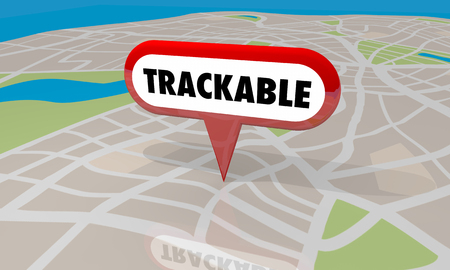 Trackable Map Pin Location Tracking Logistics 3d Illustration Imagens