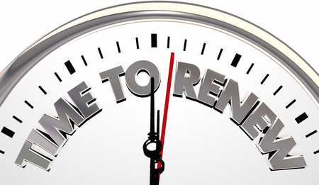 Time to Renew Refersh Begin Again Clock 3d Illustration Stock Photo