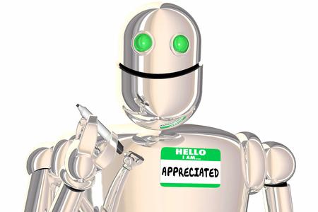 Hello I Am Appreciated. Name Tag Robot Recognition 3d Illustration