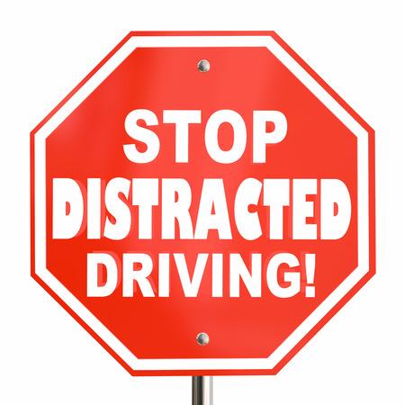 Stop afgeleid rijden teken geen sms 3D-afbeelding Stockfoto