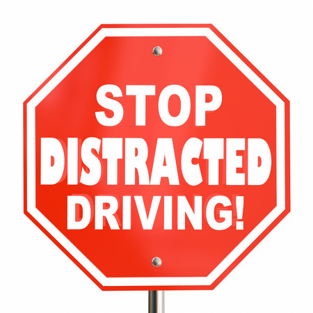 Stop Distracted Driving Sign No Texting 3d Illustration