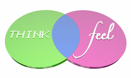 Think Vs Feel Venn Diagram Emotions Logic 3d Illustration