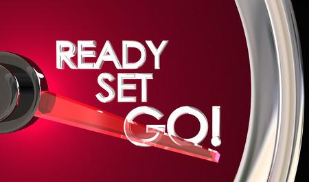 Ready Set Go Speedometer Begin Race Competition 3d Illustration Imagens - 90539226