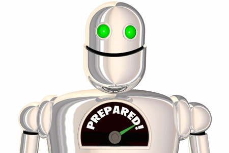 Prepared Readiness Level Ready Robot Word 3d Illustration