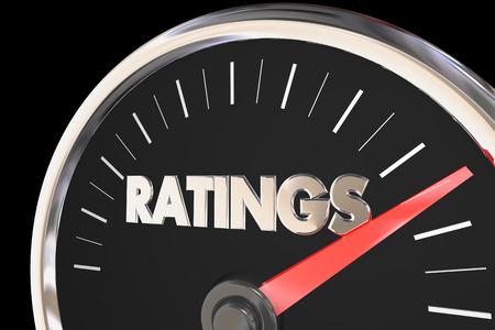 Ratings Audience Metrics Reviews Viewers Speedometer 3d Illustration Reklamní fotografie
