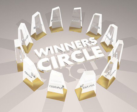 Winners Circle Awards Top Prizes Rank Level Tier 3d Illustration