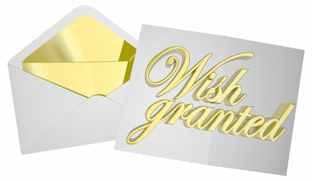 Wish Granted Dream Fulfilled Envelope Letter 3d Illustration Standard-Bild