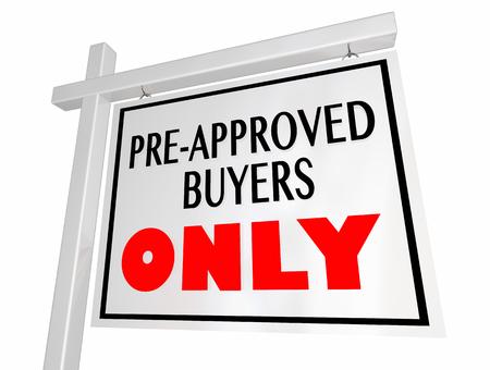 販売の事前承認されたバイヤーだけ実家に署名 3 d イラストレーション 写真素材