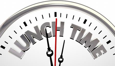 Lunch Time Clock Work School Break Eating Meal 3d Illustration