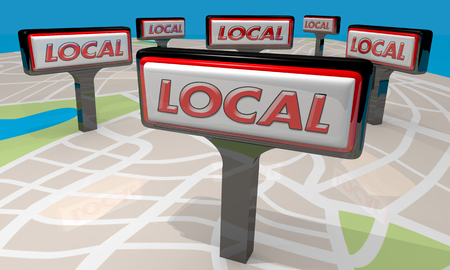 Local Store Restaurant Signs Map Support Hometown Businesses 3d Illustration