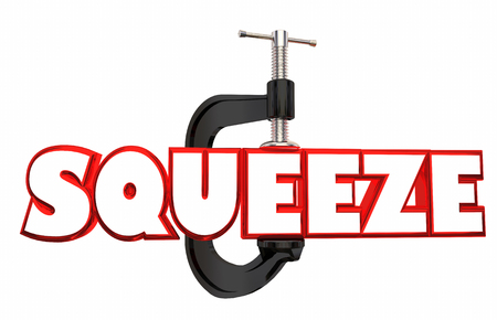 Squeeze Clamp Vice Squeezing Word 3d Illustration Reklamní fotografie