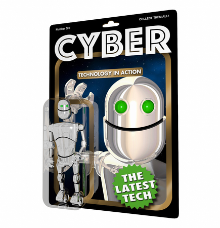 Cyber Robot Digital Technology AI Action Figure 3d Illustration Stock Photo
