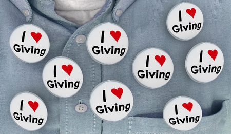 I Love Giving Charity Helping to Give Buttons Pins Shirt 3d Illustration Stok Fotoğraf - 92365938