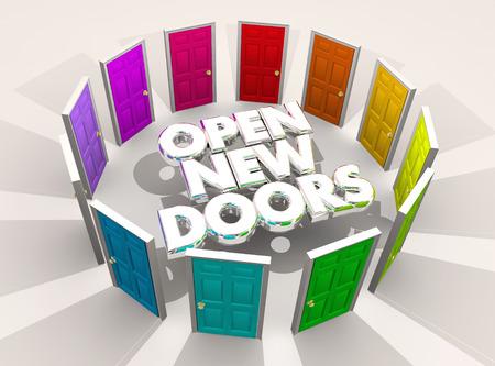 Ouvrir de nouvelles portes Défis Opportunités Mots Illustration 3d Banque d'images - 92366838