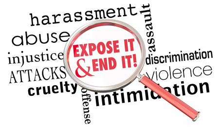 Expose End Harassment Abuse Assault Magnifying Glass 3d Illustration Stock Photo