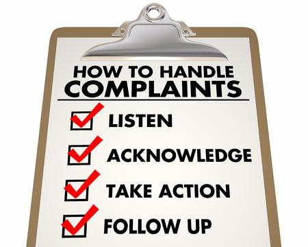 Cómo manejar las quejas Lista de verificación de servicio al cliente 3d Ilustración Foto de archivo - 90990809