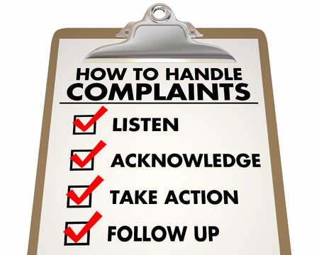 How to Handle Complaints Customer Service Checklist 3d Illustration Banco de Imagens