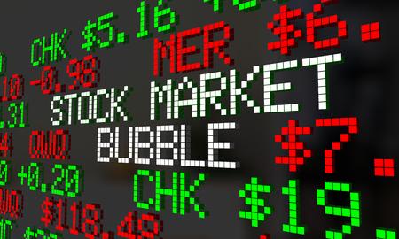 Stock Market Bubble Ticker Wall Street Burst 3d Illustration