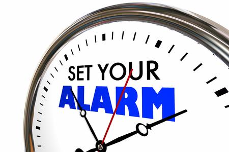 Set Your Alarm Clock Time Wake Up Start 3d Illustration Фото со стока