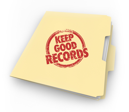 Keep Good Records Folder Documents Stamp 3d Illustration