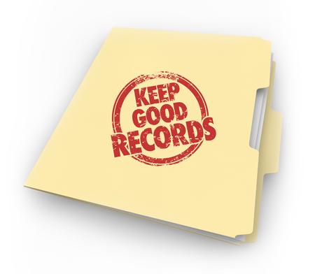 Mantenha bons registros de pasta documentos selo ilustração 3d Foto de archivo - 91360467