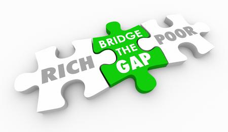 Bridge Gap Between Rich and Poor Puzzle Pieces 3d Illustration