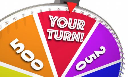 ターン チャンスの機会のゲーム番組スピニング ホイール 3 d イラストレーション