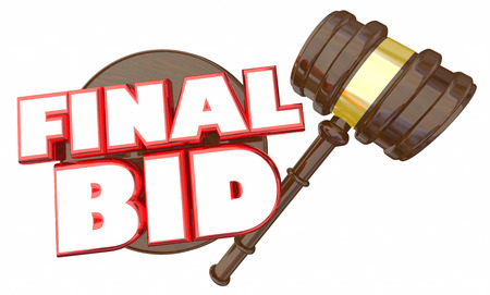 Final Bid Auction Gavel Winning Price Bidder 3d Illustration