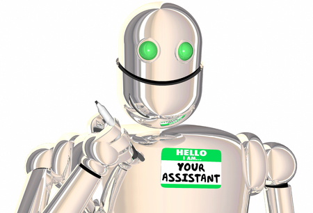 Robot Personal Assistant Hello Nametag Your Helper 3d Illustration