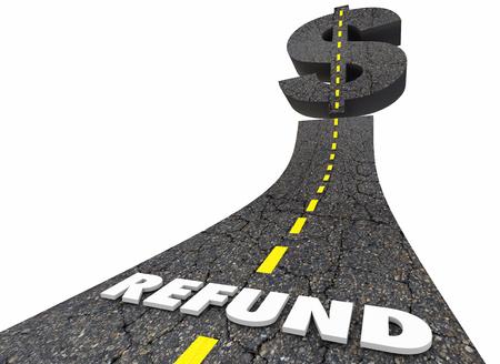 Refund Money Back Tax Return Road Dollar Sign 3d Illustration Stok Fotoğraf