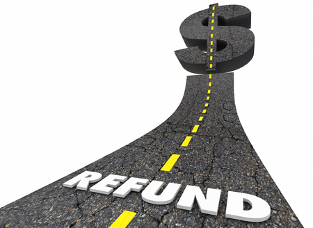 Refund Money Back Tax Return Road Dollar Sign 3d Illustration Stock Photo