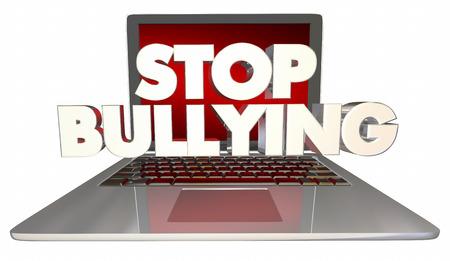 Stop Bullying Online Laptop Computer Internet Trolls 3d Illustration
