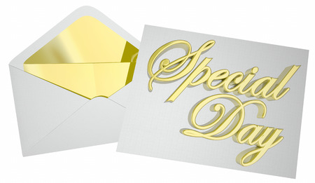 Speciale dag uitnodiging envelop feest viering 3d illustratie Stockfoto