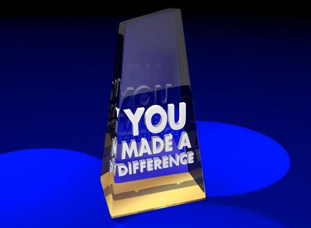 Je maakte een verschil Award Bedankt Waardering Erkenning 3d illustratie Stockfoto